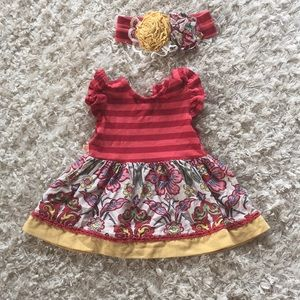 Persnickety Sz 6-12 month dress and matching bow